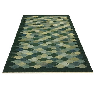Rug & Relic Yeni Kilim in Greens and Blues | 6'1 X 7'7 For Sale
