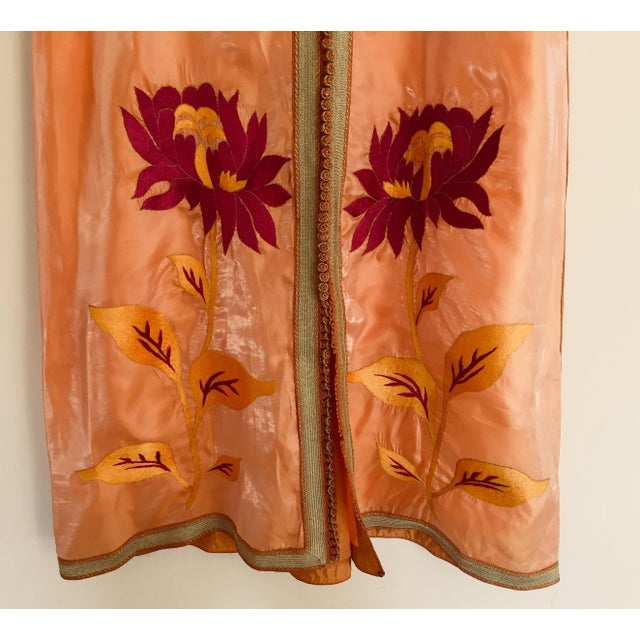 1970s Moroccan Vintage Caftan 1970s Kaftan Maxi Dress Orange With Floral Embroideries For Sale - Image 5 of 12