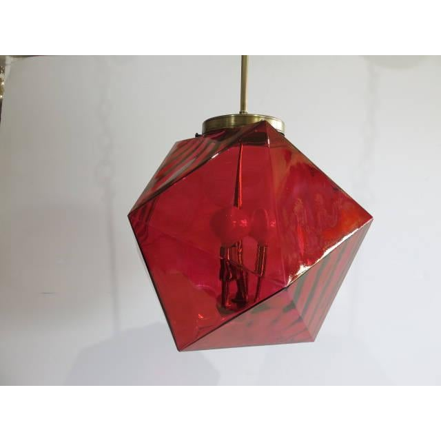Geodesic Cranberry Colored Light Pendant Mid Century Modern For Sale - Image 9 of 11