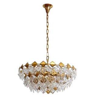 Gilt Brass and Glass Chandelier by Palwa For Sale
