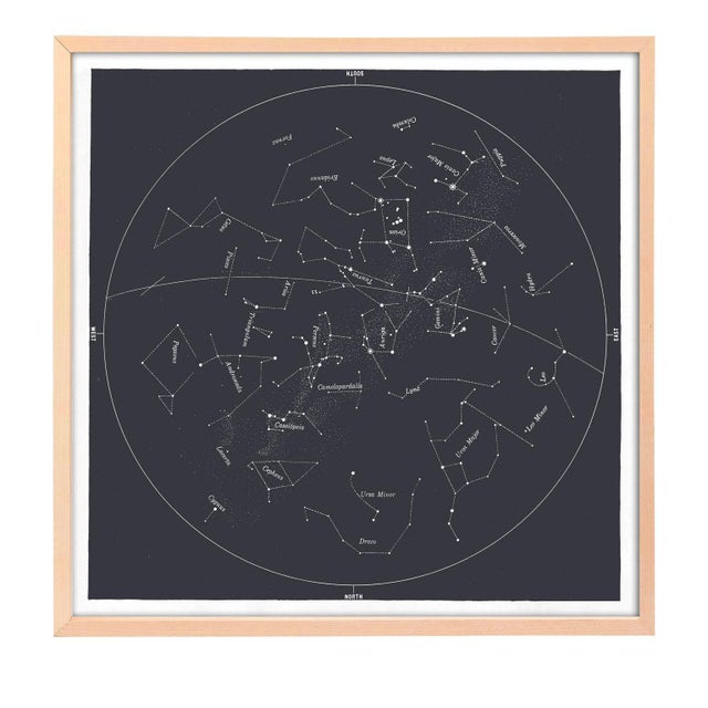 Contemporary Square Vintage Minimal Star Map With Constellations - Slate Gray For Sale - Image 3 of 4