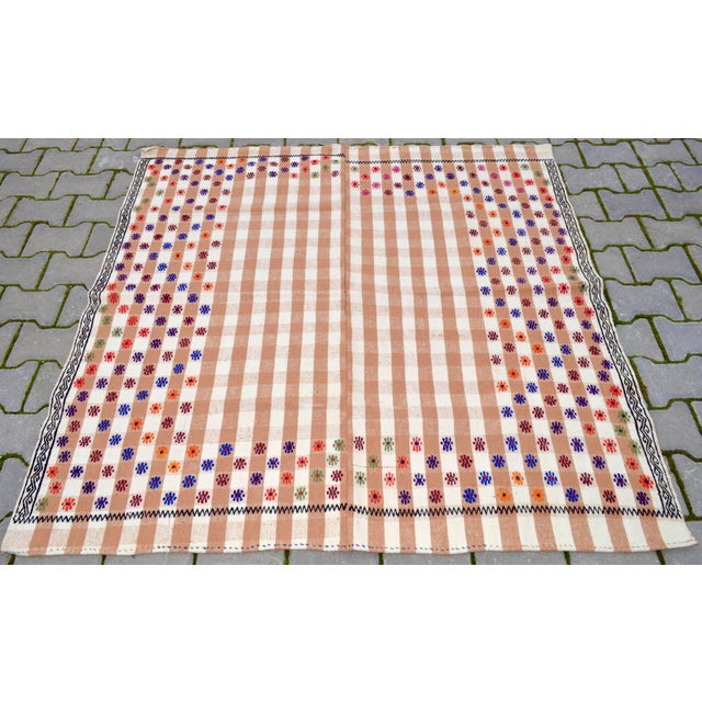Vintage Hand Woven Kilim Rug. Turkish Cotton Kilim Sofreh Deco Rug - 4′11″ X 5′1″ For Sale - Image 4 of 11