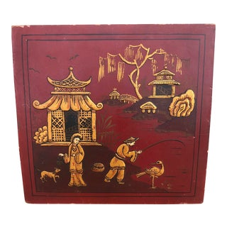 1924 Antique Chinoiserie Red and Gold Hand Painted Wall Hanging For Sale