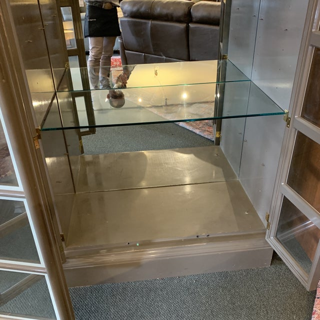 Custom Large Gray Lacquered Lighted Display Cabinet For Sale In San Francisco - Image 6 of 12