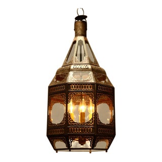 Moroccan Moorish Clear Glass Pendant For Sale