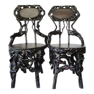 River Root Wood Chairs, a Pair For Sale