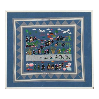 Hmong Folk Art Embroidered Tapestry Depicting the Secret War in Laos