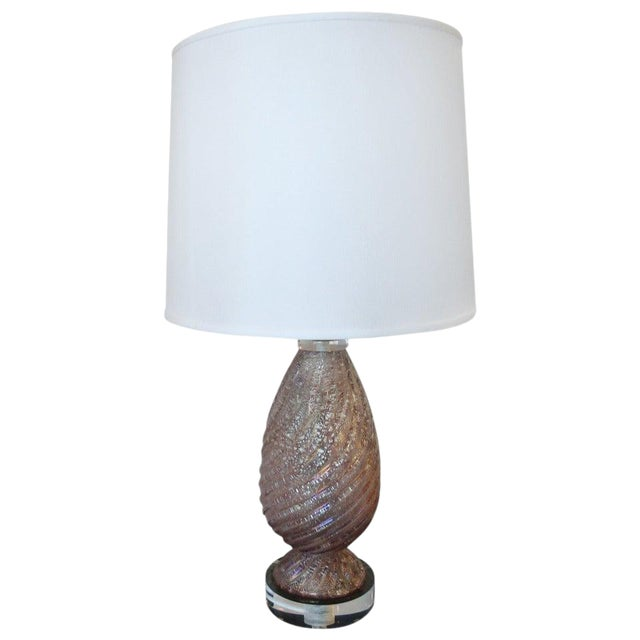 1950s Lavender Murano Glass Lamp With Shade For Sale