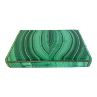 Vintage Malachite Cigarette Case by Whiteside and Co. For Sale
