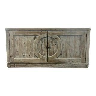 Rustic Organic Modern Greige Pine Sideboard For Sale