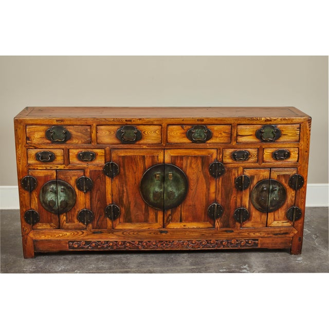 One-of-a-kind eight drawer six door elm sideboard. From Shanshi, China either late 18th century or early 19th century.