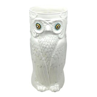 1970's Modern Ceramic Owl Umbrella Stand/Floor Vase For Sale