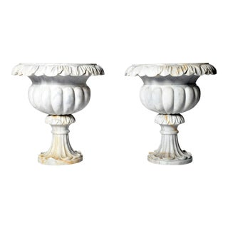 Pair of Marble Jardinières For Sale