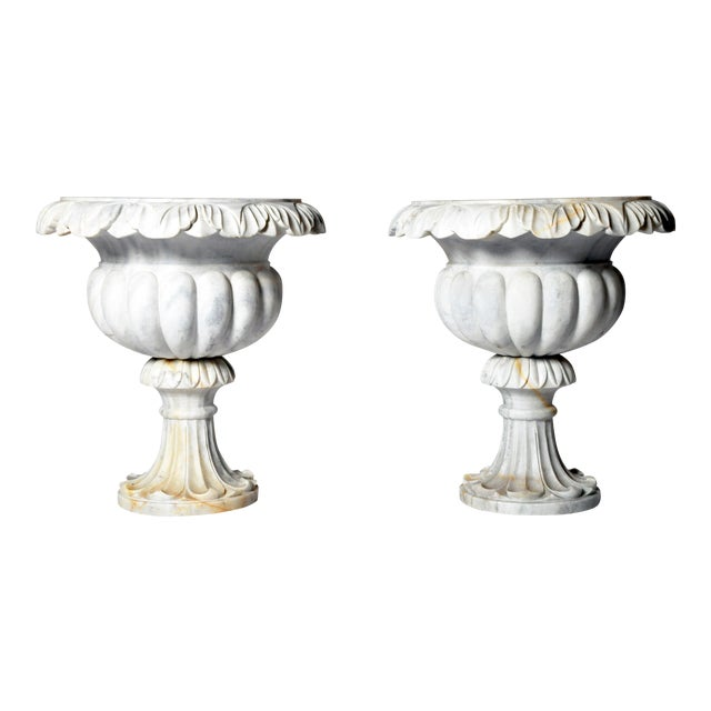 Pair of Marble Jardinières For Sale