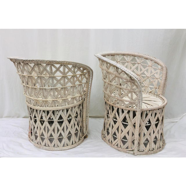 Bamboo Pair Boho Chic White Wicker & Rattan Chairs For Sale - Image 7 of 13