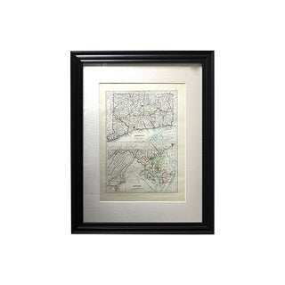 Antique Map of Connecticut & Maryland For Sale