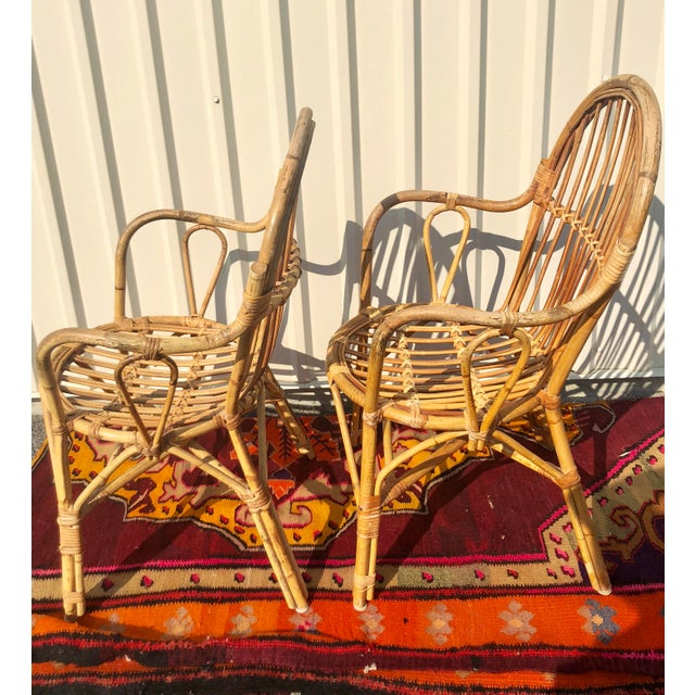 Albini Style Bamboo Rattan Bistro Chairs- a Pair For Sale - Image 11 of 13