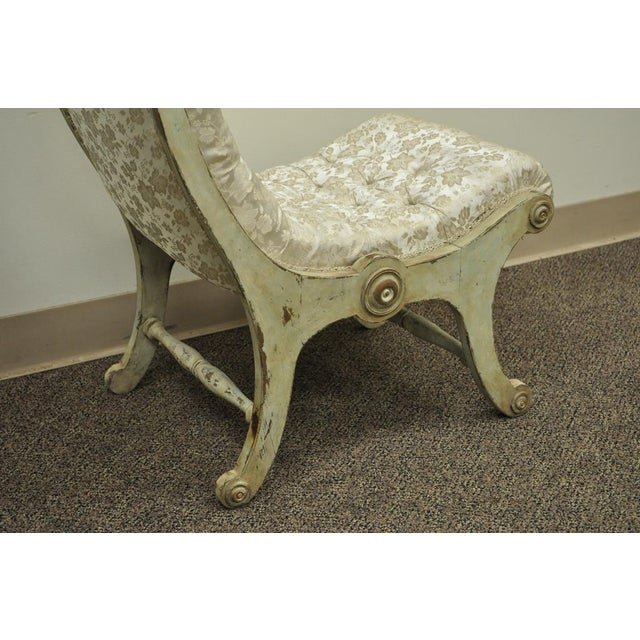 Antique Small Victorian Tufted Carved Wood Distress Painted Slipper Accent Chair - Image 5 of 11