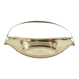 1920s Traditional Sterling Silver Pierced Bread Basket With Handle For Sale