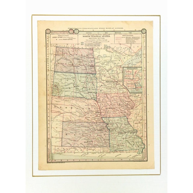 Traditional Antique 1889 Map of North Central United States For Sale - Image 3 of 4