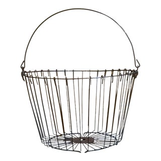 1960s Industrial Black Metal Basket For Sale