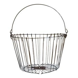 1960s Industrial Black Metal Basket