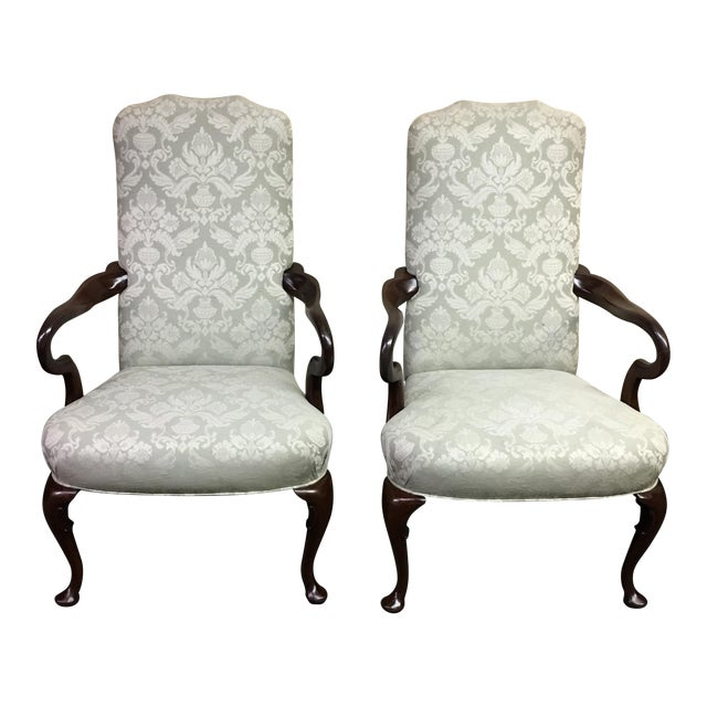 Damask Hickory Chairs - Pair - Image 1 of 9