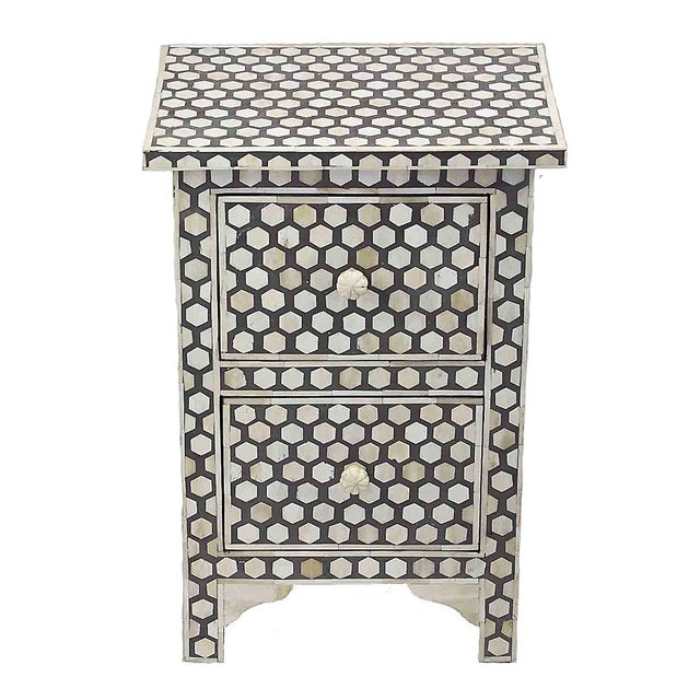 Black and White Bone Inlay 2-Drawer Nightstand For Sale