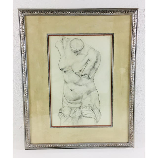 Charcoal Academy Style Charcoal on Paper Nude Study, 1951 For Sale - Image 7 of 8