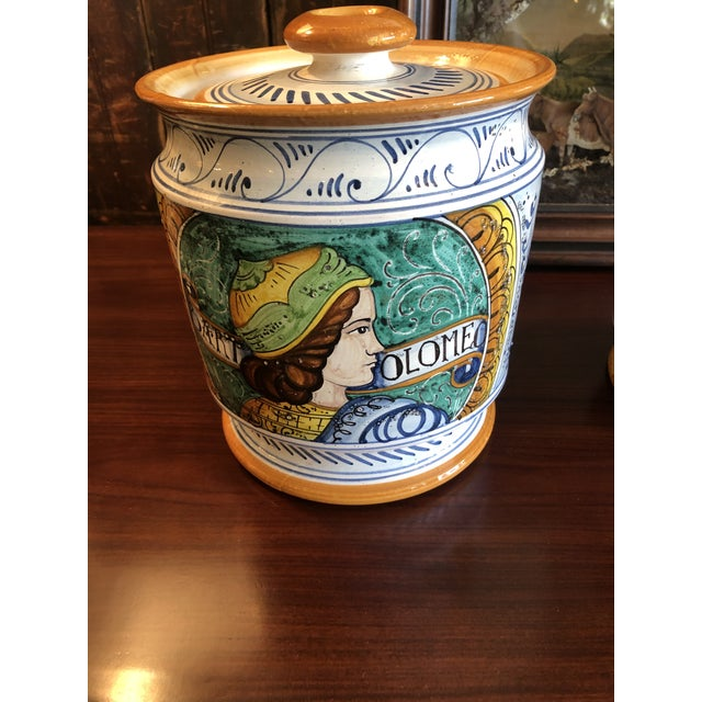 White Provencal Ceramic Painted Lidded Apothecary Jars -A Pair For Sale - Image 8 of 13