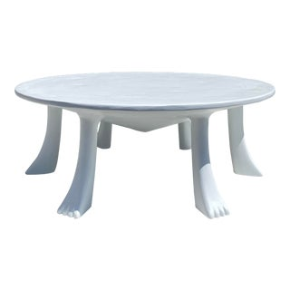 African Plaster Coffee Table with Feet For Sale