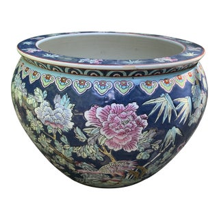 Chinoiserie Asian Hand-Painted Porcelain Planter For Sale