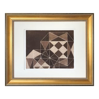 Vintage Mid Century Modern Geometric Abstract Etching by Theilacker Artist Proof For Sale