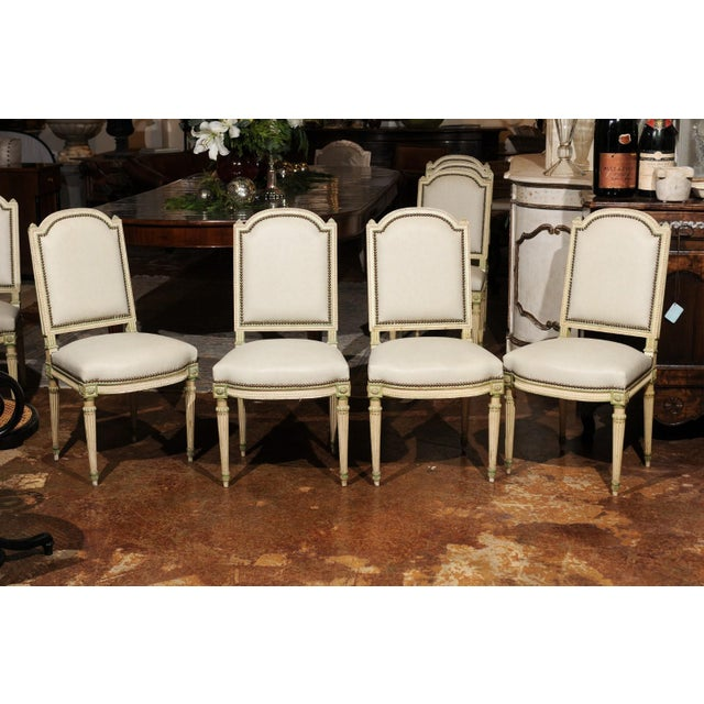 Set of Eight French Louis XVI Style Painted Dining Chairs with New Upholstery For Sale - Image 12 of 13