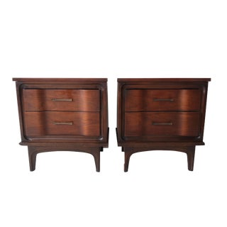 Pair of Vintage Mid Century Modern Nightstands with Curved Front