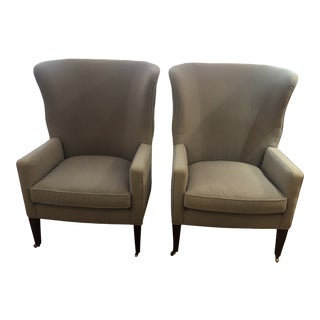 Flannel Upholstered Barrel Back Wing Chairs by Baker -A Pair For Sale