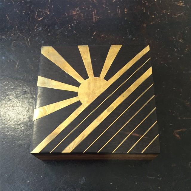 1970s Vintage Sun Brass Inlay Wood Box - Image 4 of 8