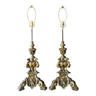 Antique French Figural Brass Andirons Converted Into Custom Lamps - a Pair For Sale