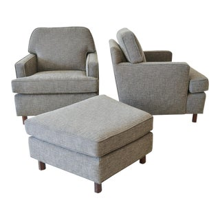 1950s Mid-Century Modern Edward Wormley for Dunbar Gray Lounge Chairs and Ottoman - 3 Piece Set