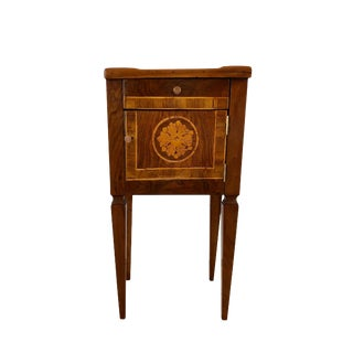 18th Century Italian Walnut Side Table Floral Inlay For Sale