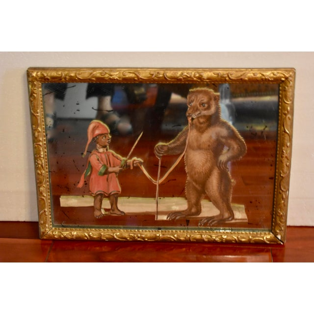 19th C. French Exotic Hand-Painted Decoupage Mirror, Animal Trainer & Bear For Sale - Image 4 of 13