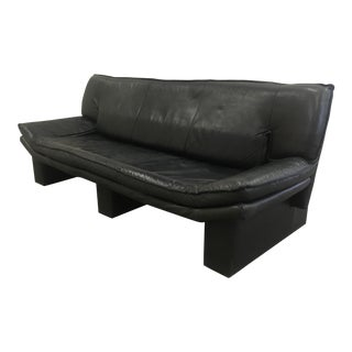 Vintage 1970s Italian Modern Nicoletti Salotti Leather Sofa in Black For Sale