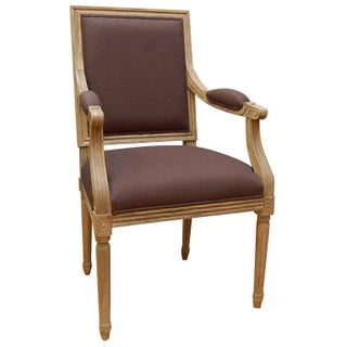 Pickled Oak Salon Chair For Sale