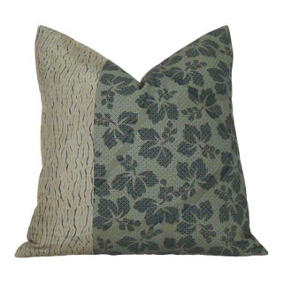 Japanese Floral Obi and Shibori Kimono Pillow Cover For Sale