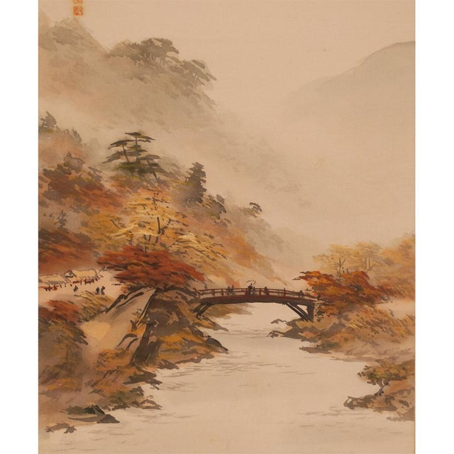 1920s C. 1920-1940s Japanese Four Landscapes Byobu Screen For Sale - Image 5 of 13
