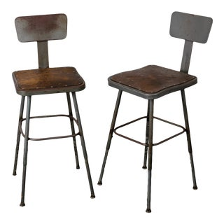Mid 20th Century Industrial Lab Stools - a Pair For Sale