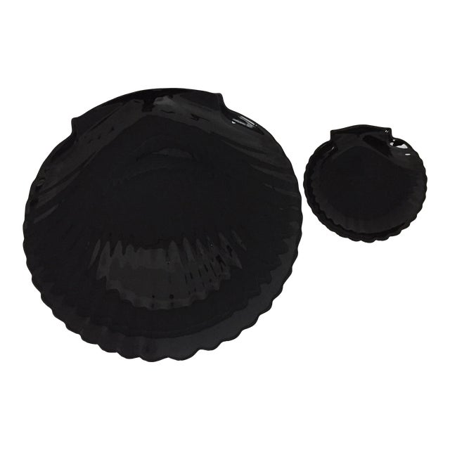 70s Arcoroc French Deco Jet Black Glass Clamshell Dinnerware Set- 24 Pieces For Sale