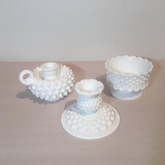 Fenton Hobnail Milk Glass Candle Holders - Set of 3 For Sale In Kansas City - Image 6 of 7