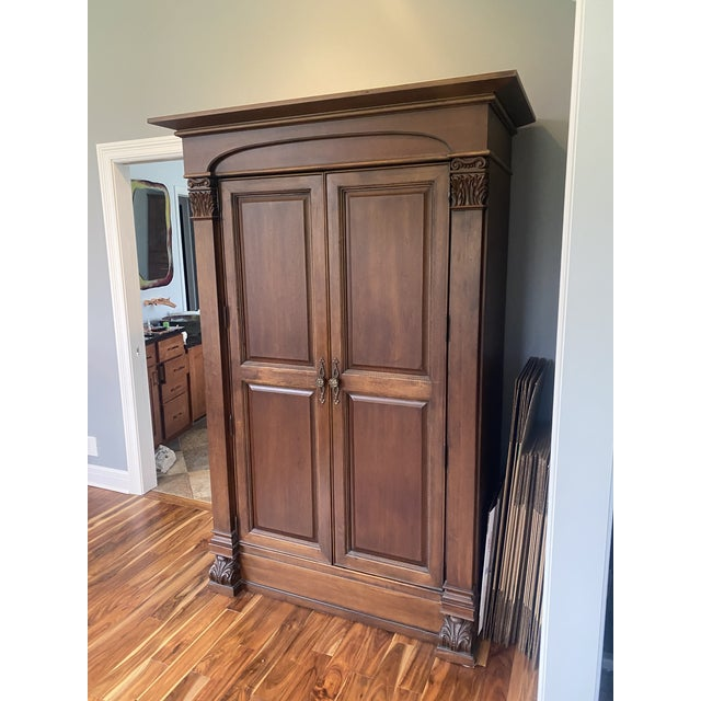 2000 - 2009 Thomasville Solid Wood Armoire in Condition For Sale - Image 5 of 5