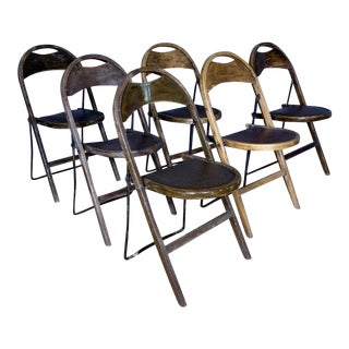 1930s Swedish Camp Folding Chairs by Gemla Möbler- Set of 6 For Sale